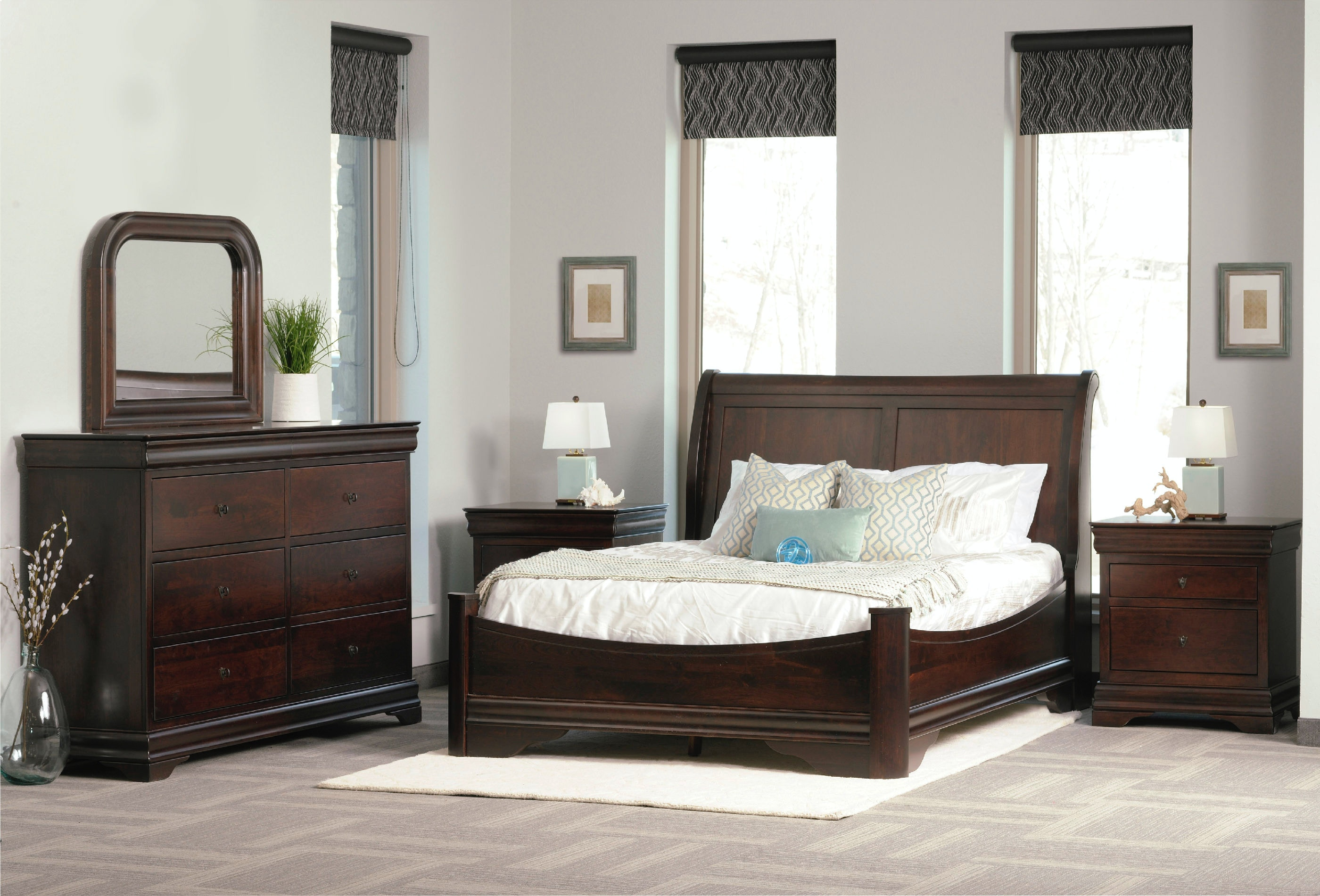 Palettes By Winesburg Avignon Sleigh Panel Bed With Left Side Drawers