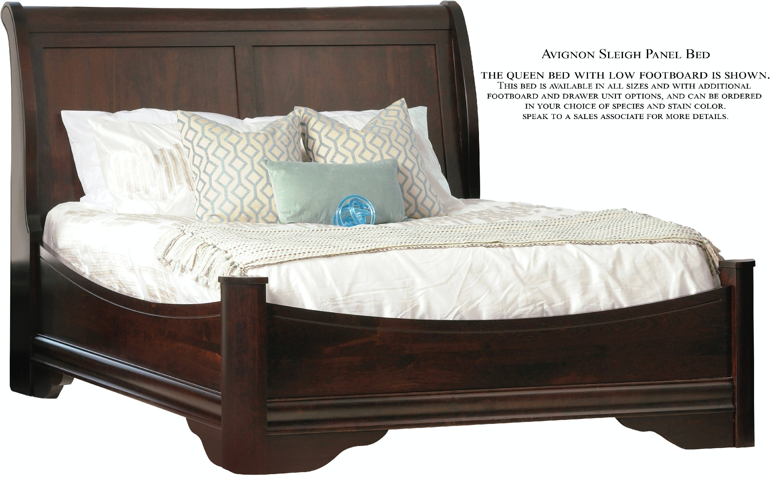 avignon sleigh panel bed with low footboard