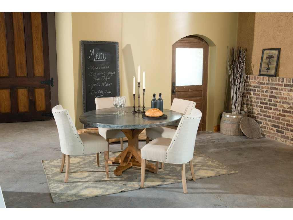 Palettes by winesburg 4848zi dining room round zinc table top for Table exterieur zinc