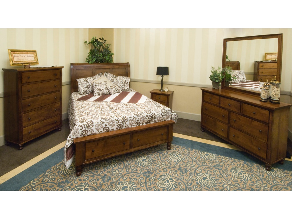 Yutzy woodworking bedroom footboard drawer unit bed 48005 for Bedroom furniture raleigh nc