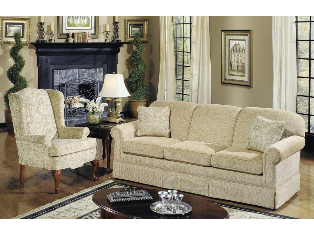 Craftmaster living room three cushion queen sleeper sofa for Living room quilt
