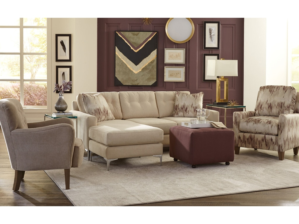 Craftmaster living room sofa chaise 766157 norwood furniture for Apartment couch with chaise