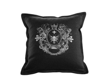 Curations Limited Logo Pillow Black Linen 1200.0006