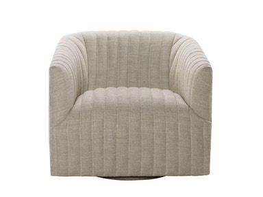 Curations Limited Sete Strip Linen Swivel Arm Chair 7841.0044.A015