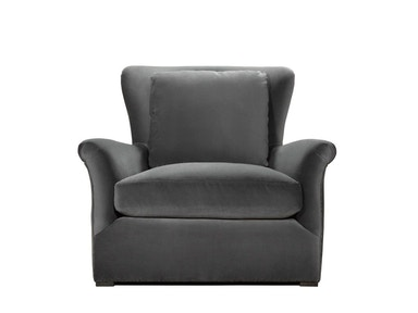 Curations Limited Winslow Lounge Grey Velvet Chair 7841.1003.V807