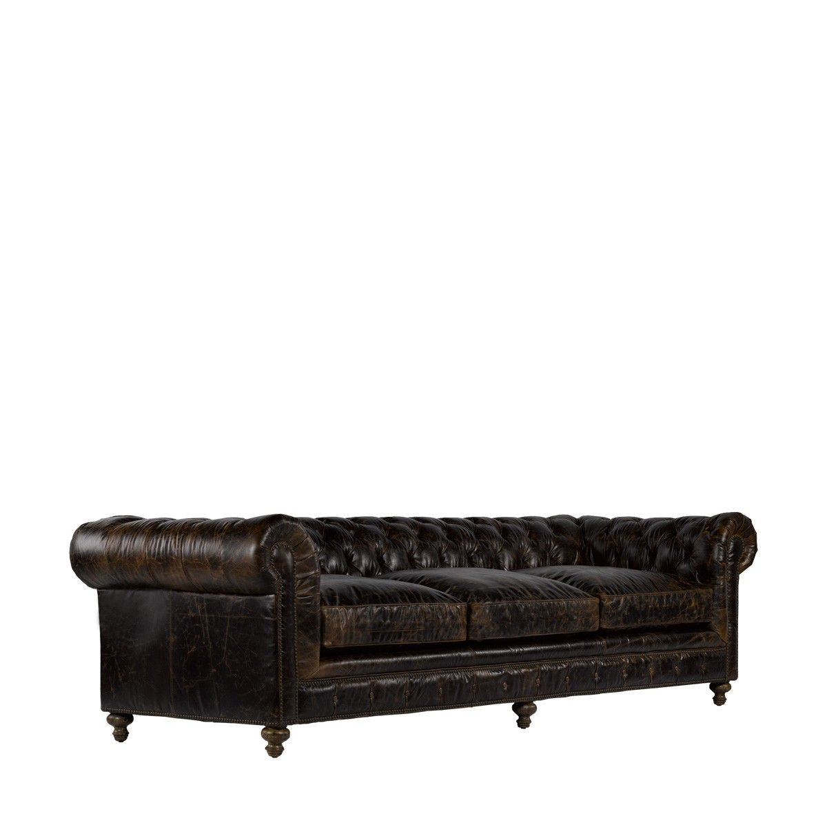 Curations Limited 118 Inches Cigar Club Leather Sofa 7842.3008.1 From  Walter E. Smithe
