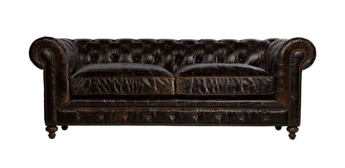Superbe Curations Limited 90 Inches Cigar Club Leather Sofa 7842.3009.1