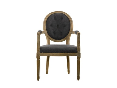 Curations Limited Vintage Wool Louis Round Button Arm Chair 8827.0009.W006