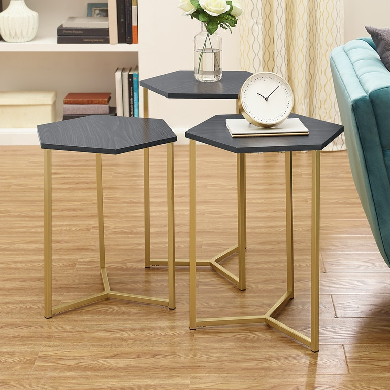 Ft Myers Modern Transitional Hex Wood And Metal Nesting Tables Set Of 3 Wedaf16hex3gr From