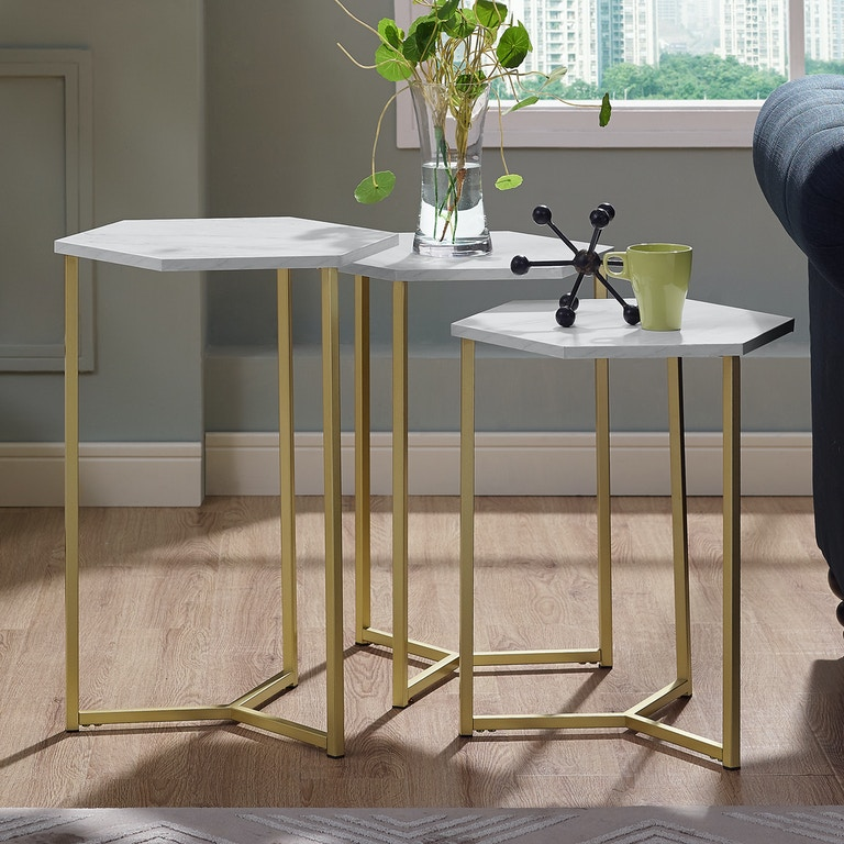 Ft Myers Modern Transitional Hex Wood And Metal Nesting Tables Set Of 3 Graphite