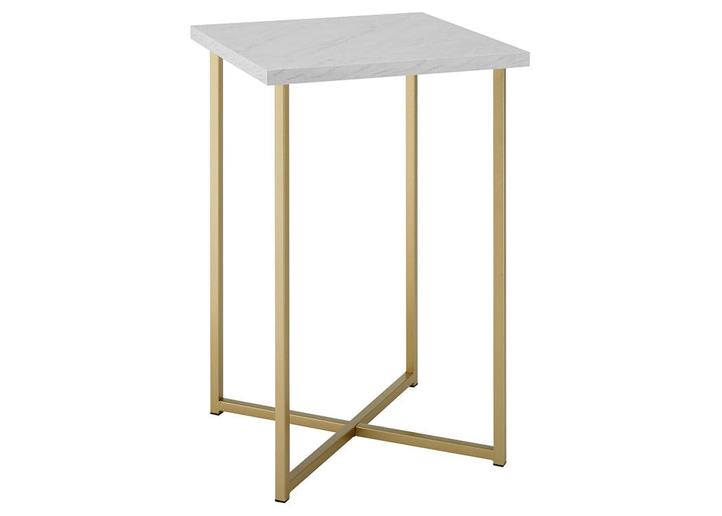 Ft Myers Bedroom 16 Modern Bohemian Square Side End Table Nightstand White Marble Top Gold Legs Wedaf16luxwmg Walter E Smithe Furniture Design