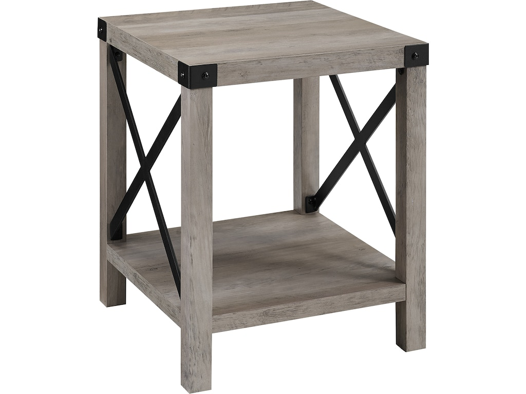 Ft Myers Living Room 18\'\' Rustic Urban Industrial Metal X Accent Side Table  WEDAF18MXSTGW Walter E. Smithe Furniture + Design