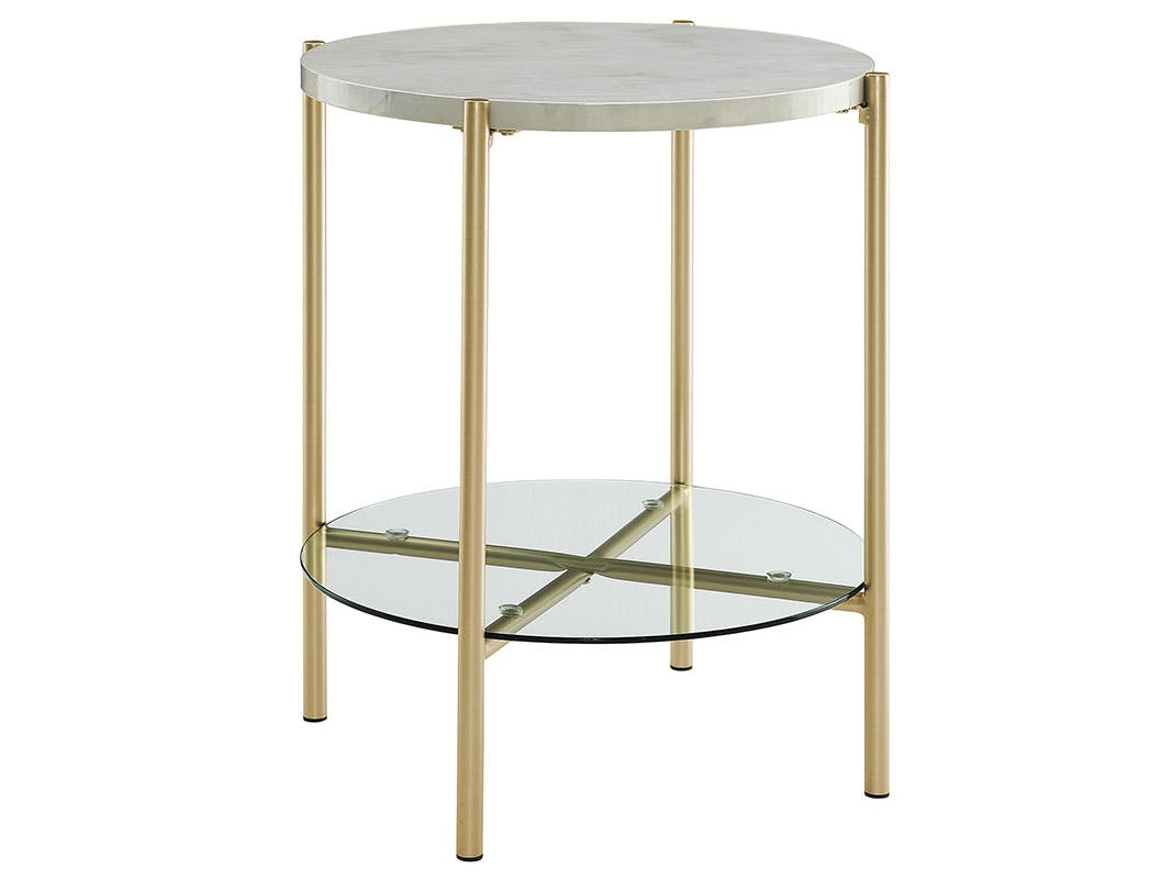 Ft Myers Bedroom 20 Mid Century Round Side End Table Nightstand White Marble And Gold Wedaf20srdstmgd Walter E Smithe Furniture Design