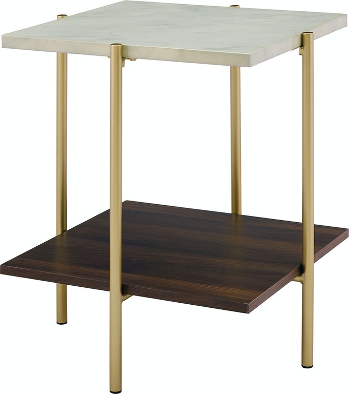 Ft Myers 20 Mid Century Modern Square Side Table Marble Gold Wedaf20ssqstmgd From