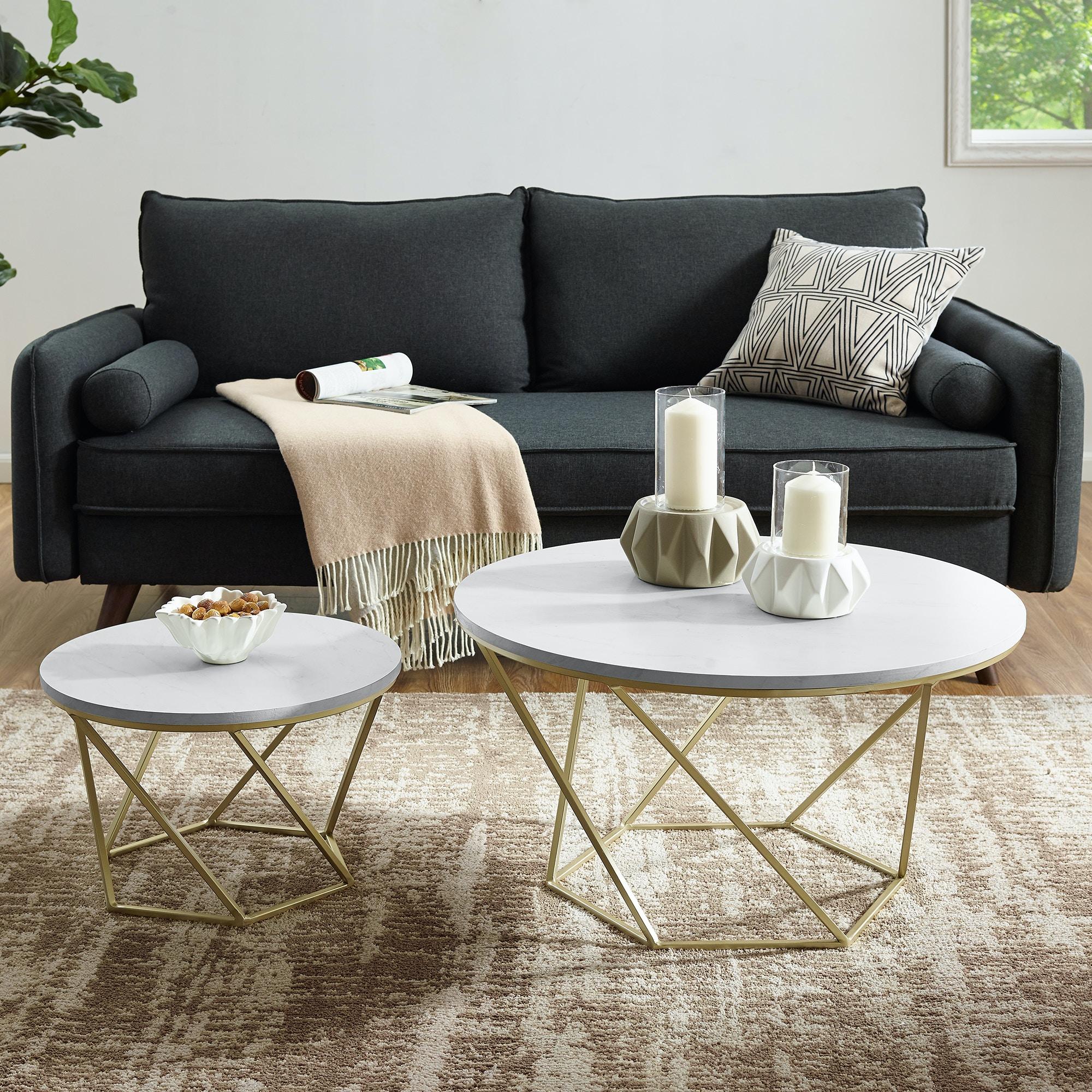 Charmant Ft Myers Modern Bohemian Geometric Glass Nesting Coffee Table Set   White  Marble/Gold WEDAF28CLRGMG