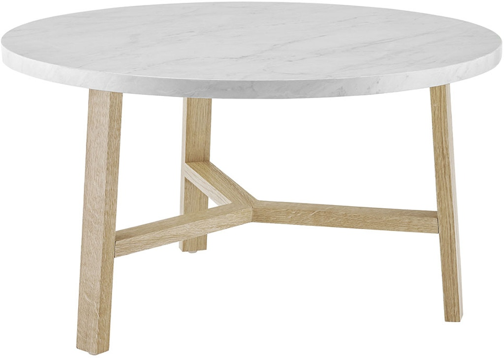 Ft Myers 30 Transitional Contemporary Mid Century Modern Round Coffee Table White Marble And