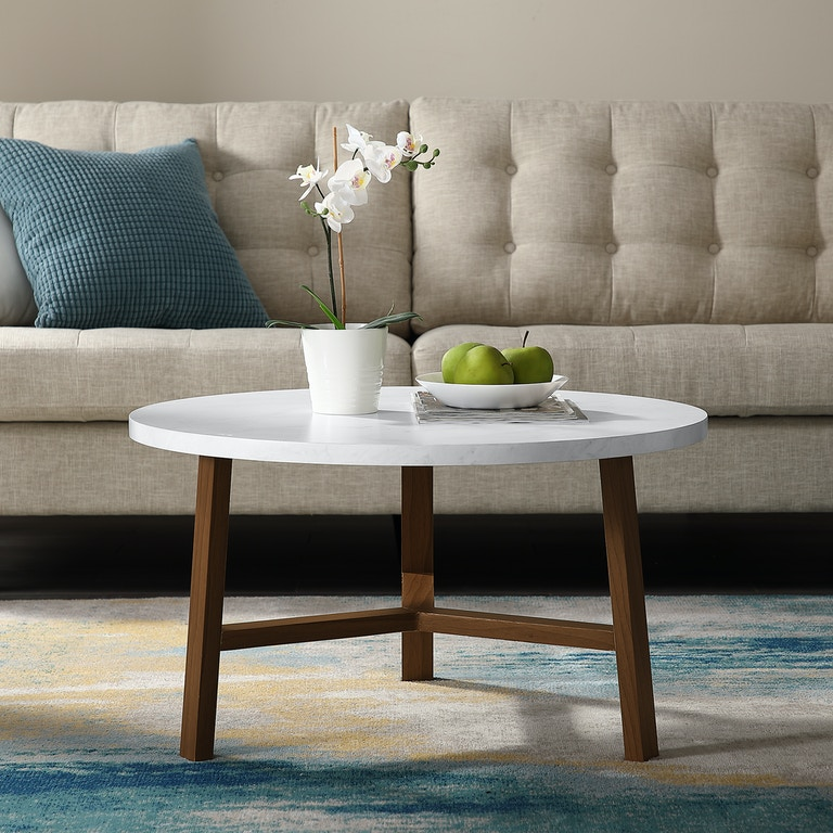 Ft Myers Living Room 30\'\' Transitional Contemporary Mid Century Modern  Round Coffee Table and Acorn WEDAF30EMCTPC Walter E. Smithe Furniture +  Design