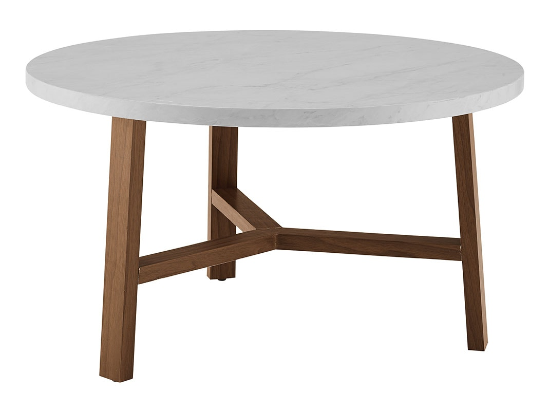 Beau Ft Myers 30u0027u0027 Transitional Contemporary Mid Century Modern Round Coffee  Table And Acorn