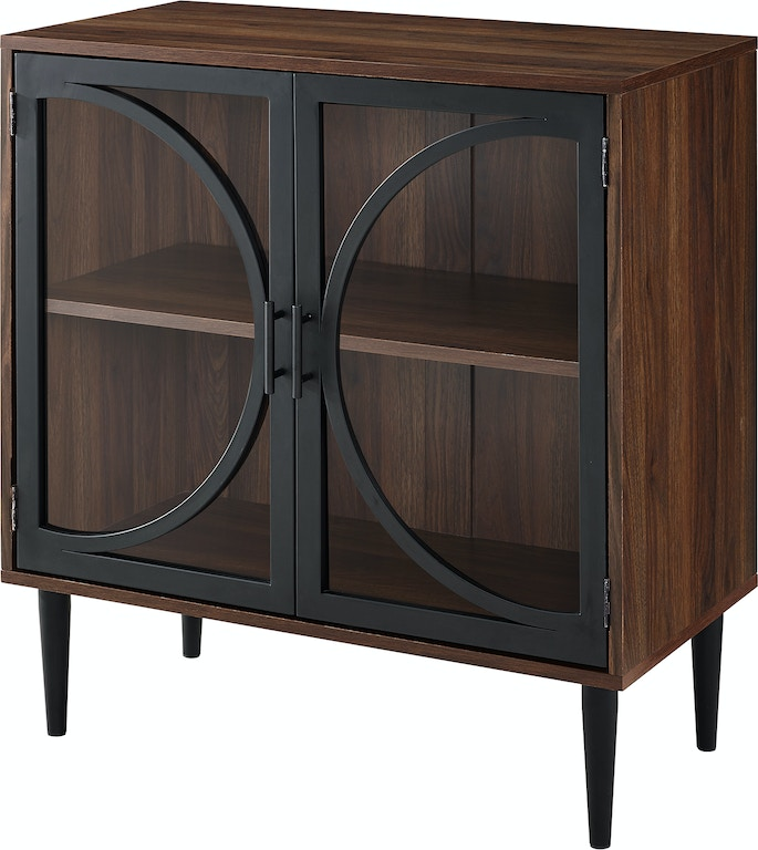 Ft Myers 30 Chic Transitional Mid Century Modern Metal Door With Tempered Gl Accent Console Bar Storage Cabinet Wedaf30loladw