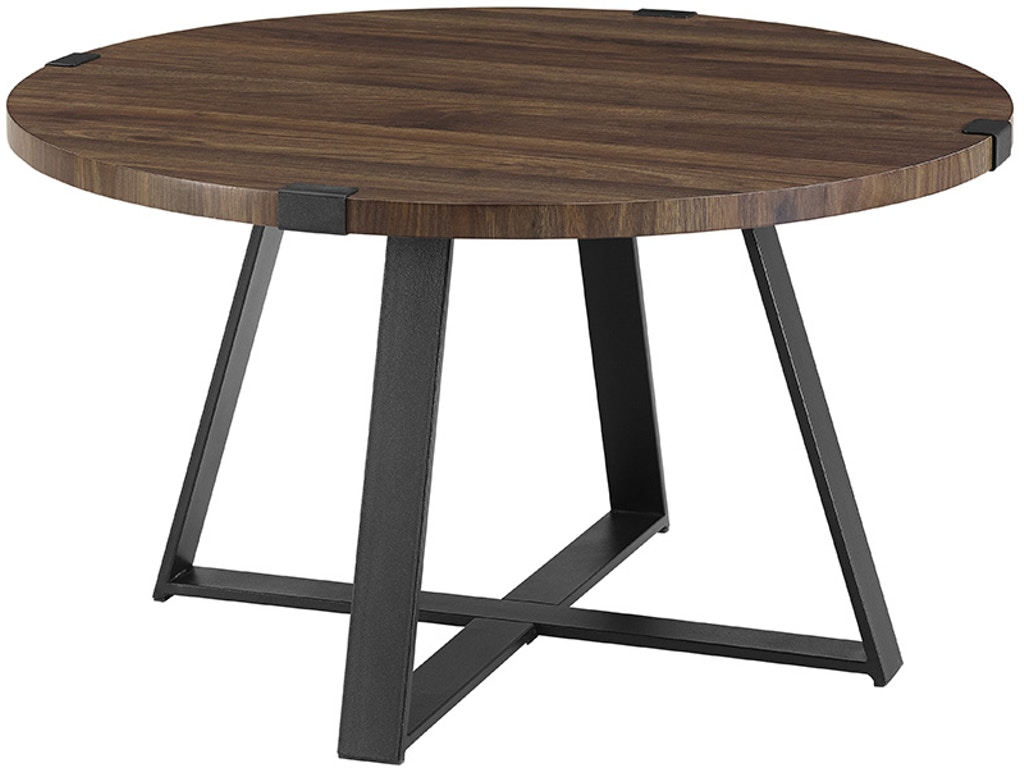 Ft Myers Living Room 30\'\' Rustic Urban Industrial Wood and Metal Wrap Round  Coffee Table WEDAF30MWCTDW Walter E. Smithe Furniture + Design