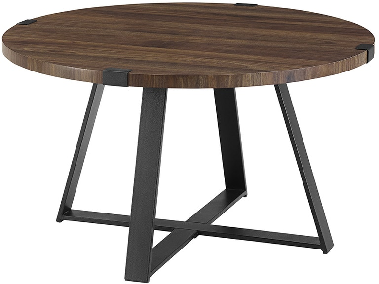 5c38d2014169 Ft Myers 30   Rustic Urban Industrial Wood and Metal Wrap Round Coffee Table  WEDAF30MWCTDW
