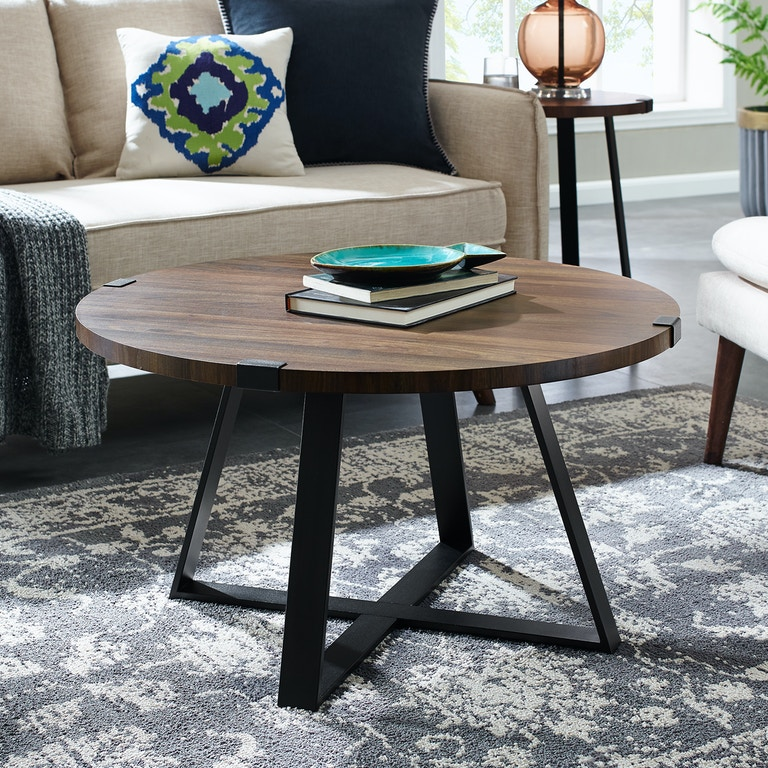 Ft Myers 30 Rustic Urban Wood And Metal Wrap Round Coffee Table Wedaf30mwctdw
