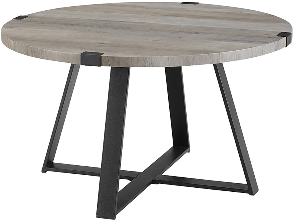 Ft Myers Living Room 30 Rustic Urban Wood And Metal Wrap Round Coffee Table Grey Wash Black Wedaf30mwctgw Walter E Smithe Furniture