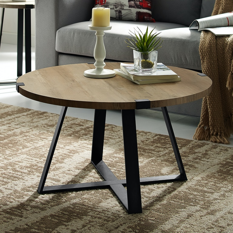 Ft Myers 30 Rustic Urban Wood And Metal Wrap Round Coffee Table Wedaf30mwctro
