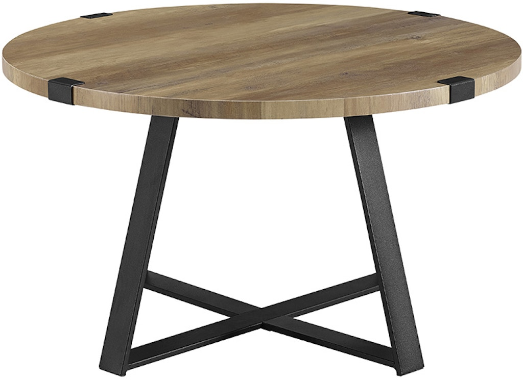 Ft Myers 30 Rustic Urban Wood And Metal Wrap Round Coffee Table