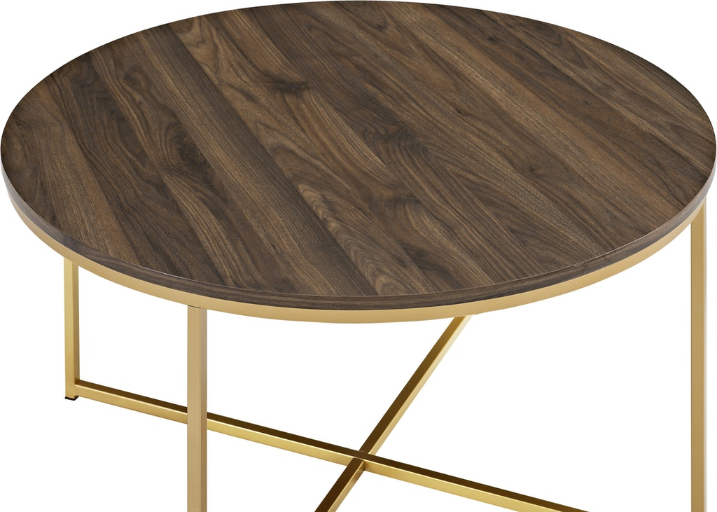 Mid Century Modern Coffee Table With XBase Dark WalnutGold - Mod century modern coffee table