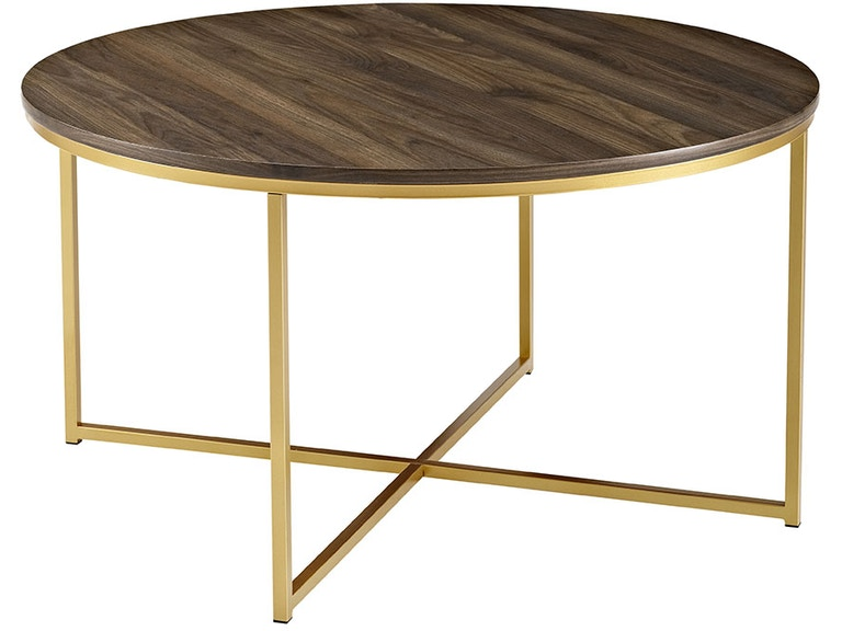 Mid Century Modern Coffee Table With XBase Dark WalnutGold - Cheap mid century modern coffee table