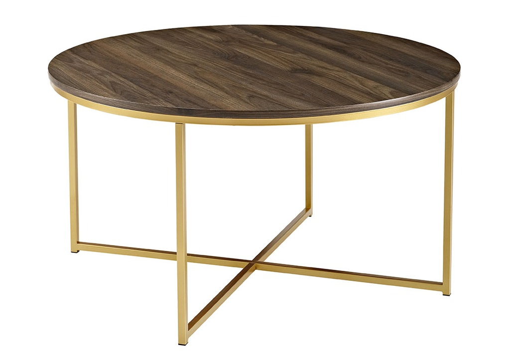 36 Mid Century Modern Coffee Table With X Base Dark Walnut Gold