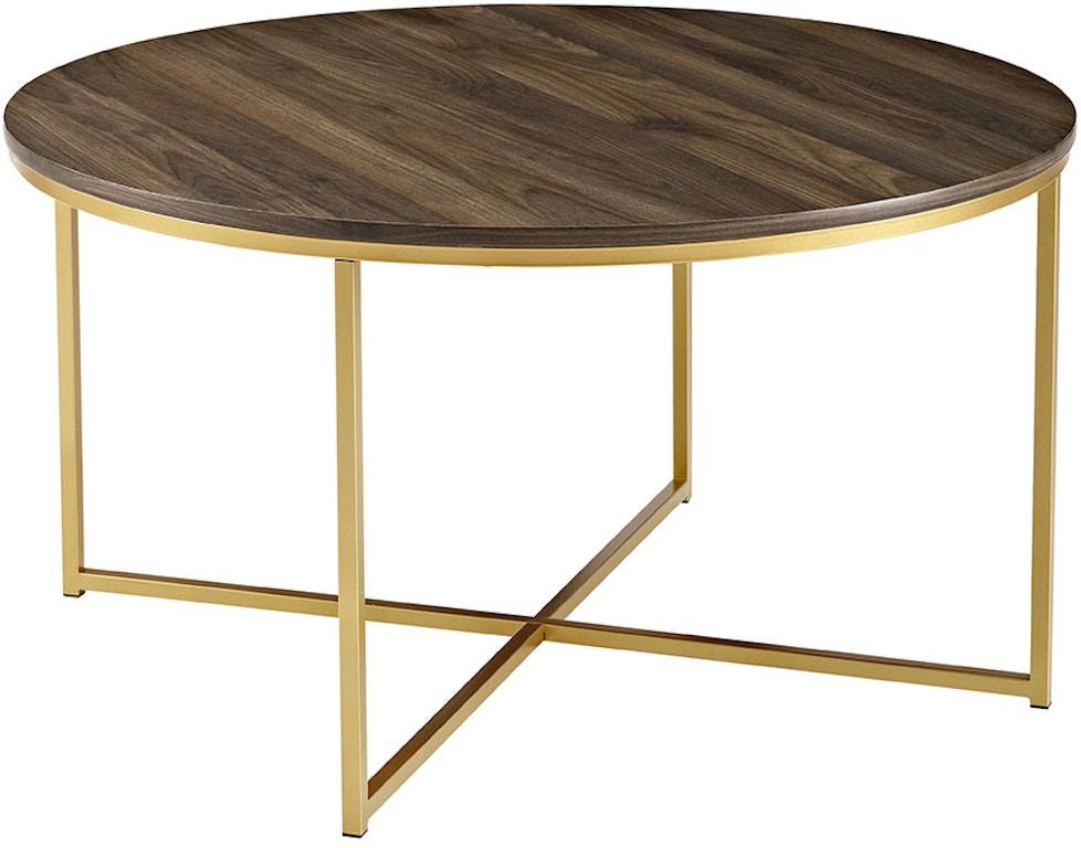 36 Mid Century Modern Coffee Table With X Base Dark Walnutgold