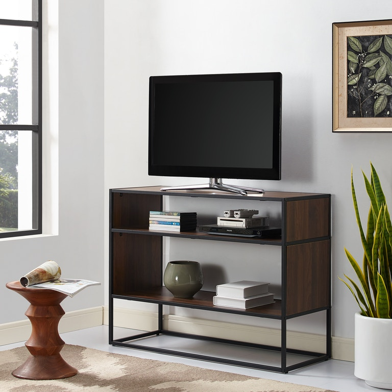 Ft Myers 40 Rustic Urban Metal And Wood Open Shelf Storage Tv Entertainment
