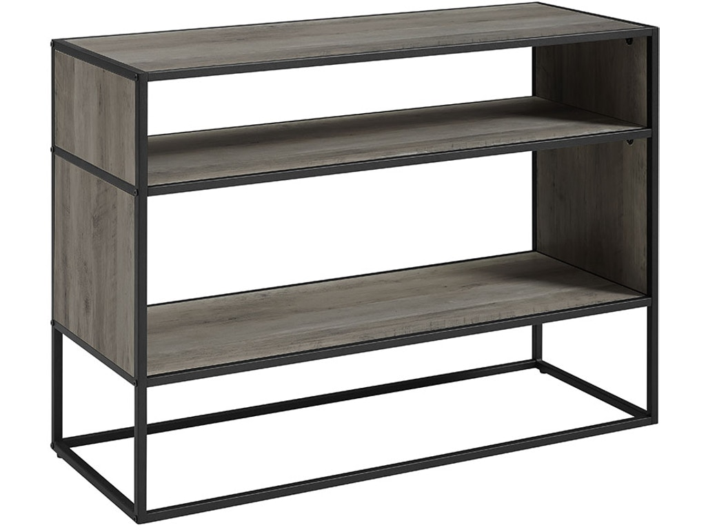Ft Myers Home Entertainment 40\'\' Rustic Urban Industrial Metal and Wood  Open Shelf Storage TV Entertainment Stand Media Console Table Bookshelf ...