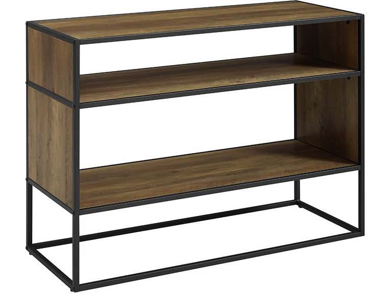 Ft Myers 40 Rustic Urban Metal And Wood Open Shelf Storage Tv Entertainment Stand
