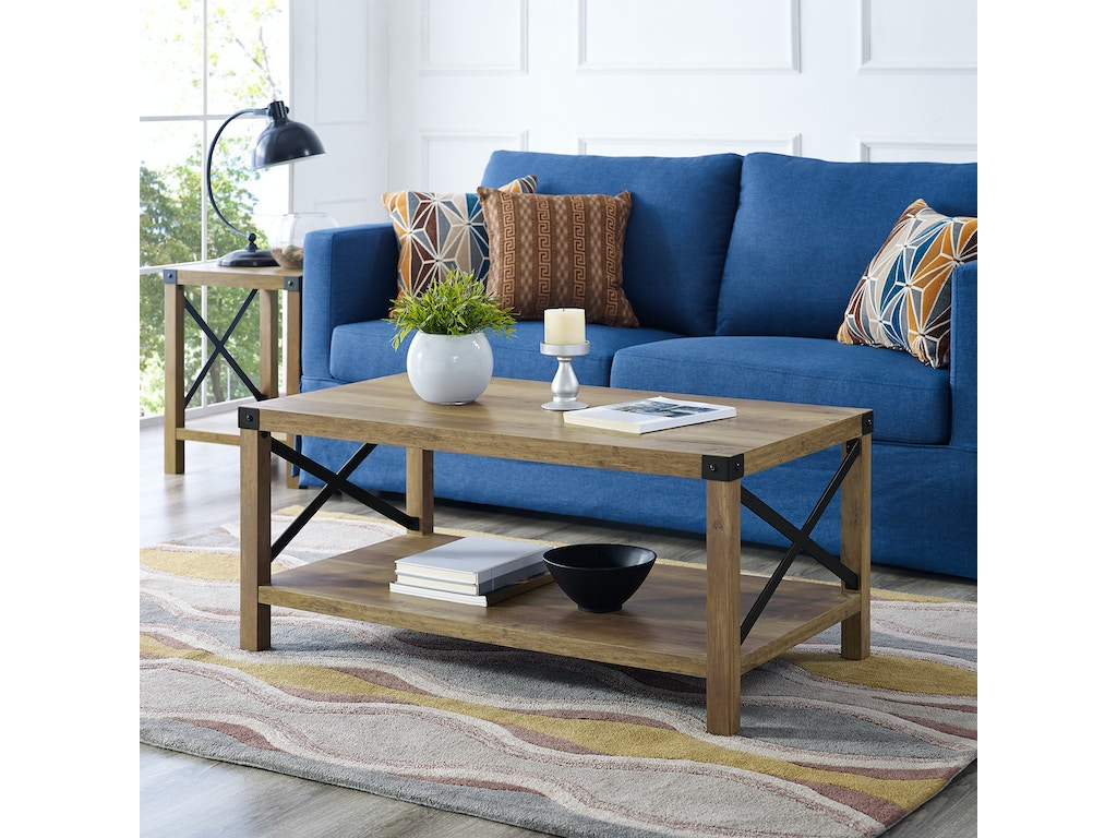 Ft Myers Living Room 40 Rustic Urban Metal X Coffee Table Oak Black Wedaf40mxctro Walter E Smithe Furniture Design
