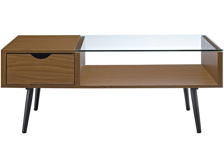 42 Mid Century Modern Wood And Glass Coffee Table With Drawer And