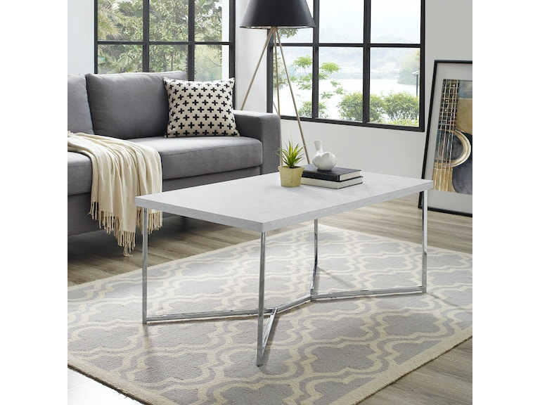 42 Mid Century Modern Transitional Y Leg Coffee Table White Faux