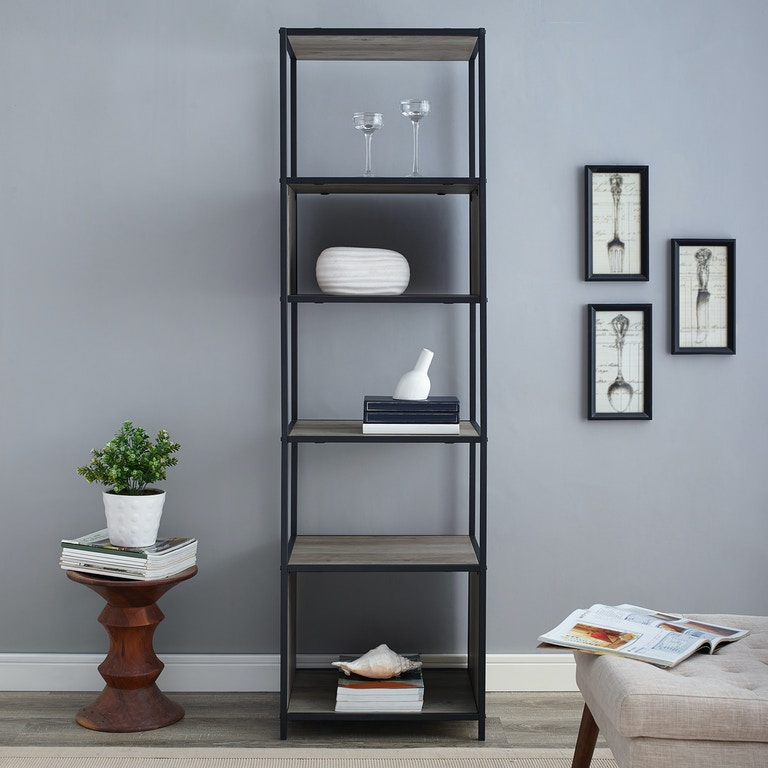 Ft Myers 70 Rustic Urban Industrial Metal And Wood Bookshelf Audio Media Tower With 5