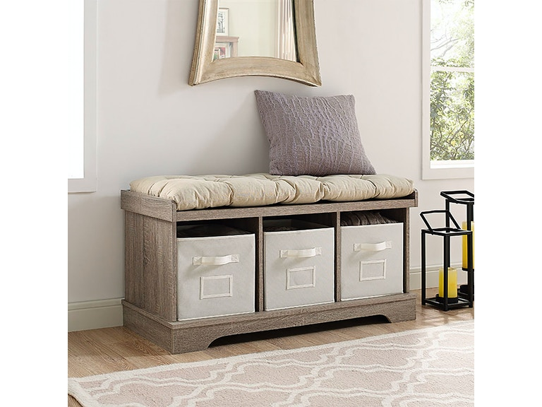 Ft Myers 42 Wood Storage Bench With Totes And Cushion Wedb42stcag