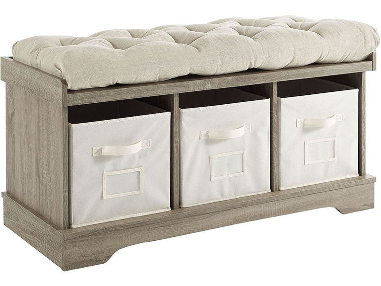 Ft Myers 42 Transitional Modern Farmhouse Wood Entryway Storage Bench With Cushion And Totes Wash Wedb42stcgw