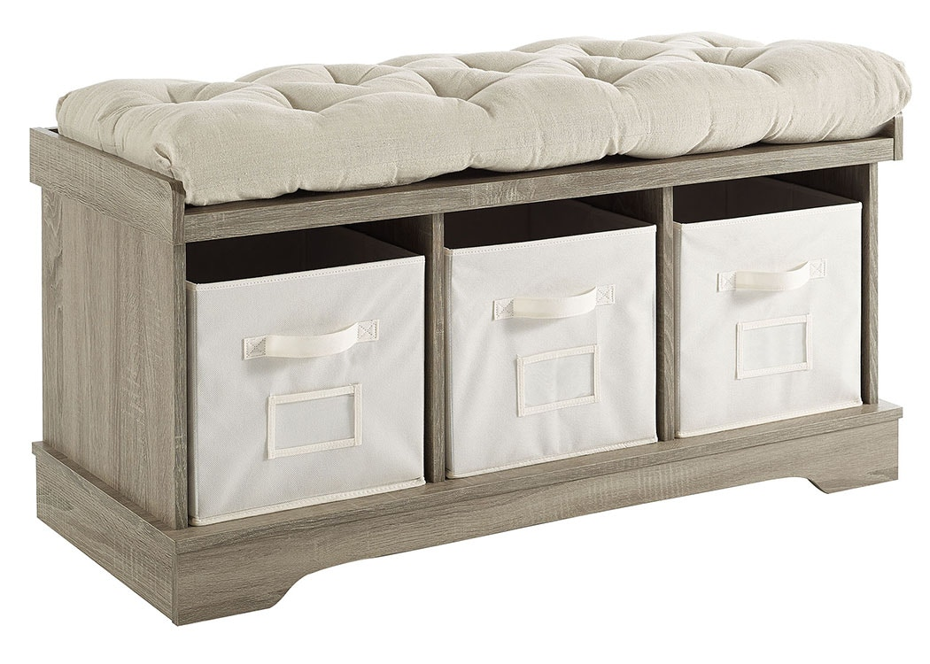 Ft Myers 42u0027u0027 Transitional Modern Farmhouse Wood Entryway Storage Bench With  Cushion And Totes Wash