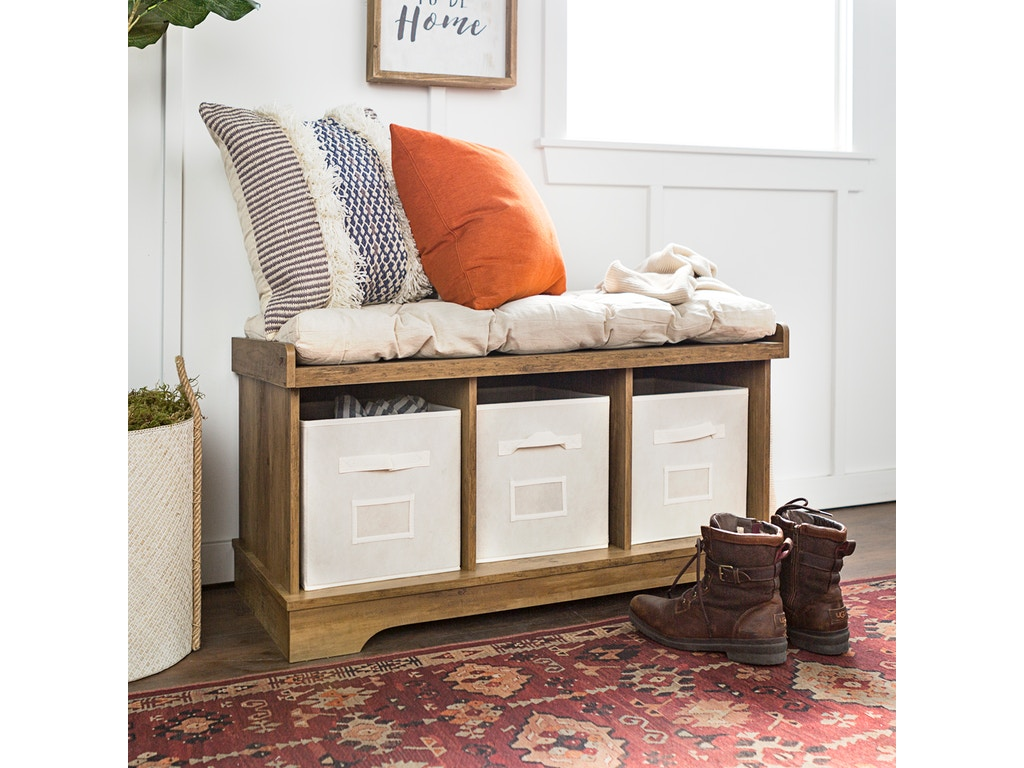 Fantastic Ft Myers Living Room 42 Transitional Modern Farmhouse Wood Entryway Storage Bench With Cushion And Totes Rustic Oak Wedb42Stcro Walter E Smithe Gmtry Best Dining Table And Chair Ideas Images Gmtryco