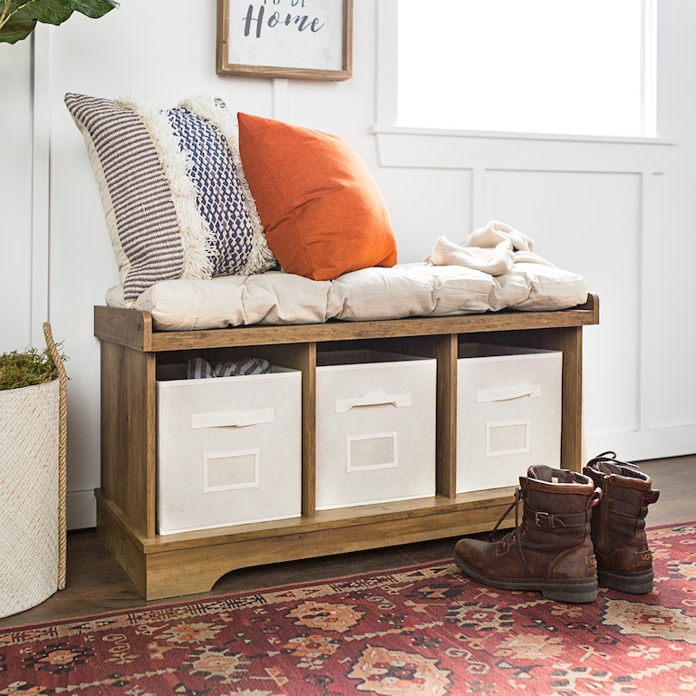 Ft Myers 42 Transitional Modern Farmhouse Wood Entryway Storage Bench With Cushion And Totes