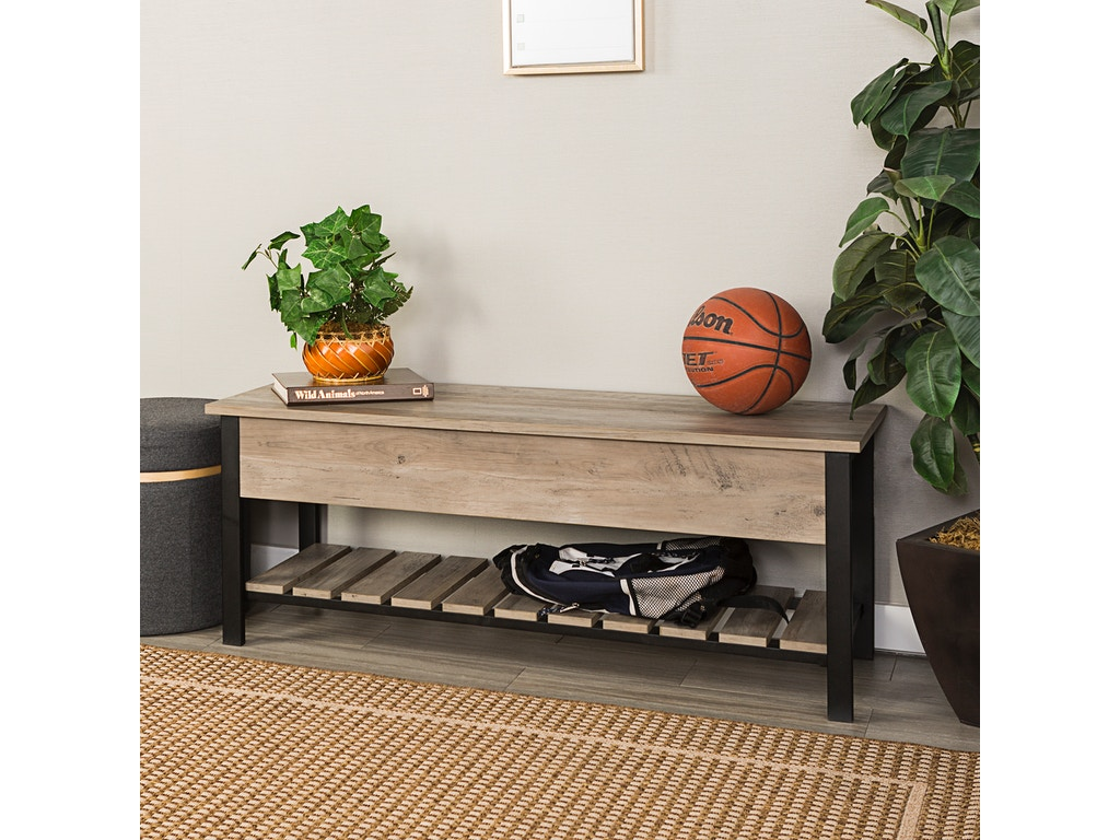 Admirable Ft Myers Living Room 48 Rustic Modern Farmhouse Storage Bench With Shoe Shelf Gray Wash Wedb48Pcsbgw Walter E Smithe Furniture Design Gmtry Best Dining Table And Chair Ideas Images Gmtryco