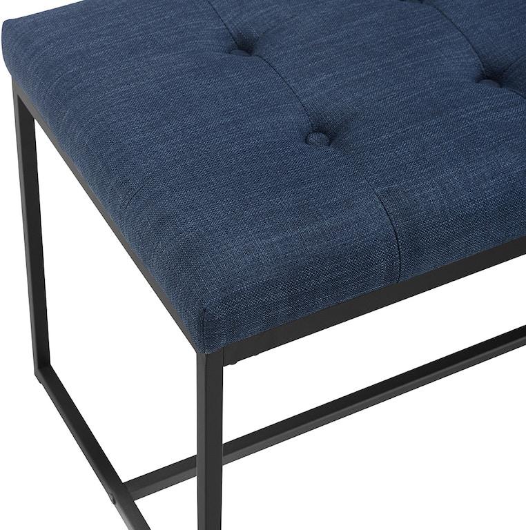 48 transitional upholstered bench with metal base blue wedb48upmbbu