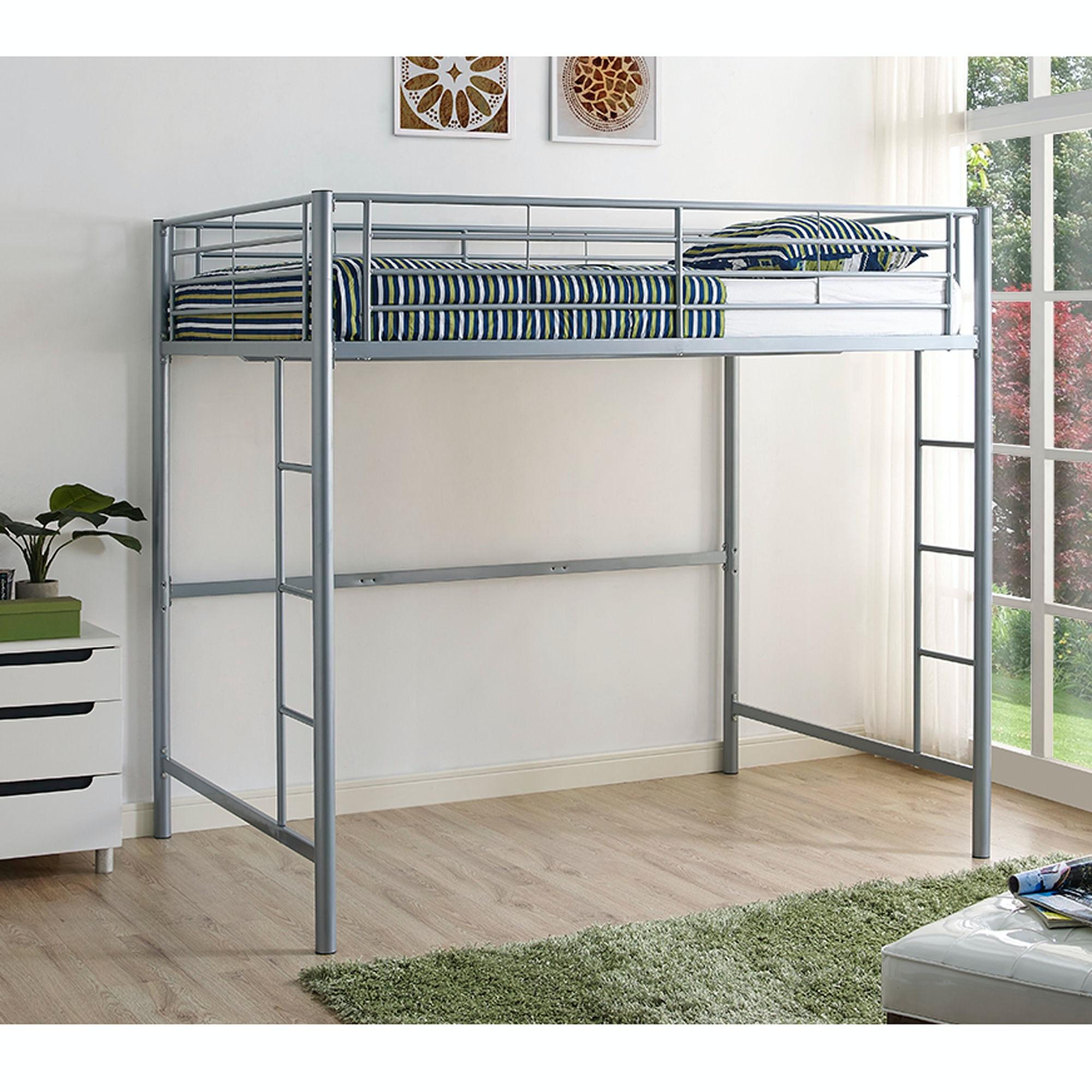 Premium Metal Full Size Loft Bed Silver Wedbdolsl