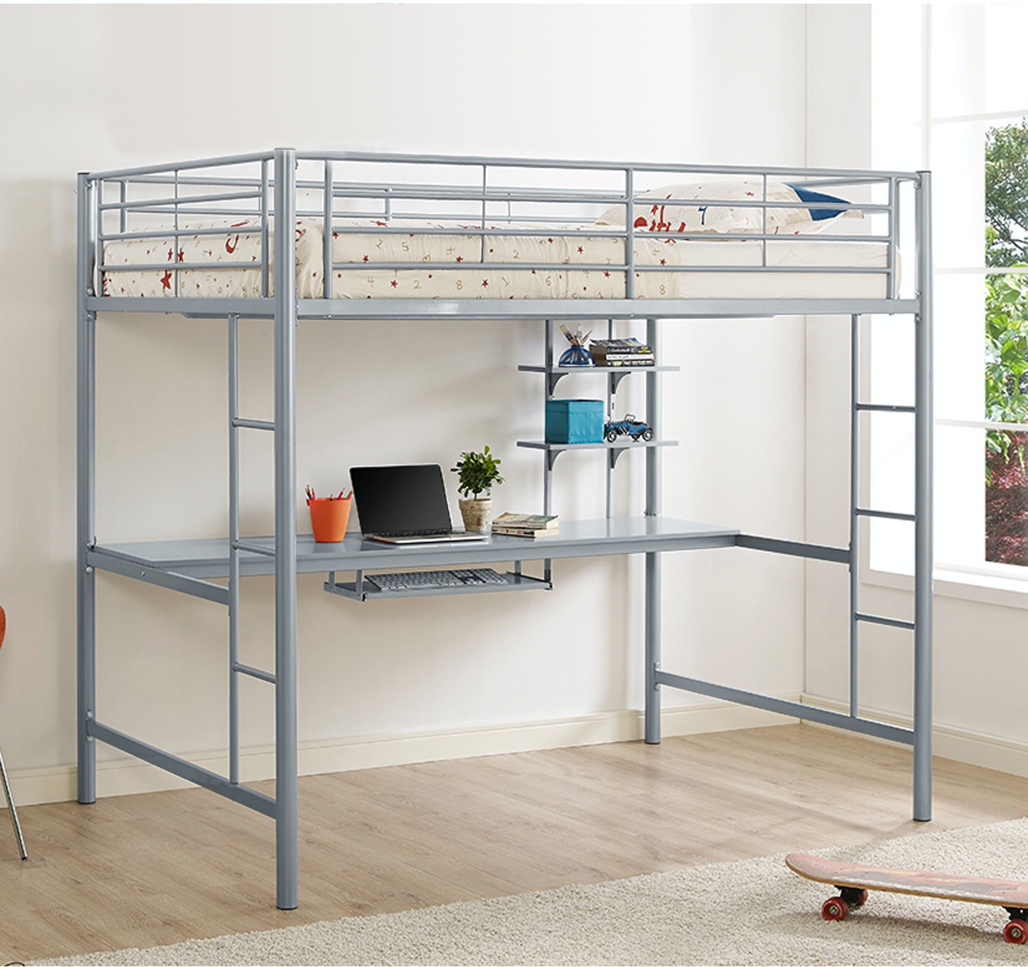 Full Size Loft Bed.Ft Myers Youth Premium Metal Full Size Loft Bed With Wood Workstation Wedbdozsl Walter E Smithe Furniture Design