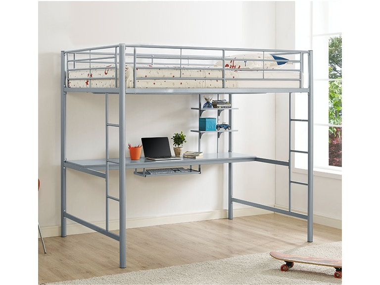 Premium Metal Full Size Loft Bed With Wood Workstation Silver